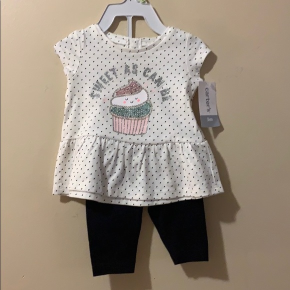 Carter's Other - Baby girls 3 month outfit black & white w/sequins